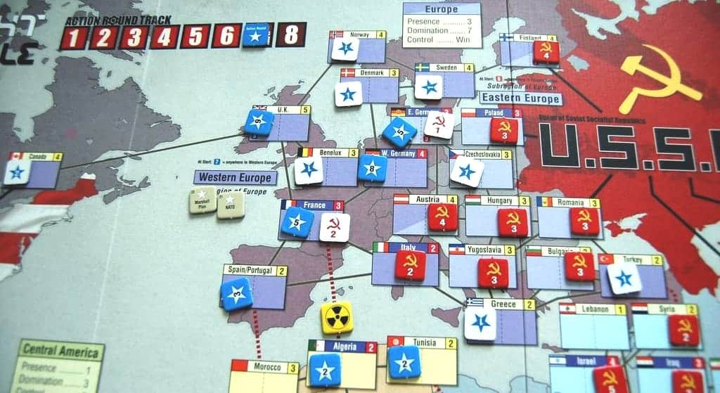If you are looking for a deeply strategic cold war experience, Twilight Struggle is one of the best 2 player board games of all time.